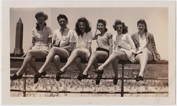 Six Women and a Phallic Tower Vintage Snapshot