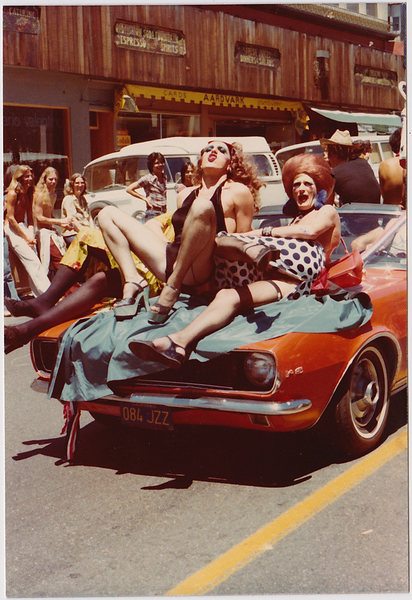 Drag Queens on Red Mustang: Vintage Gay Photo