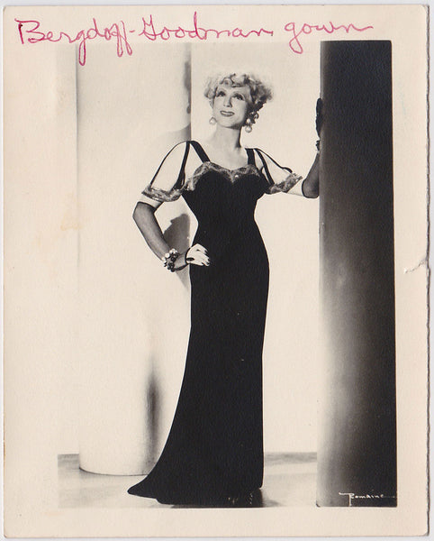 "Female Impersonator in ""Bergdoff-Goodman gown"""
