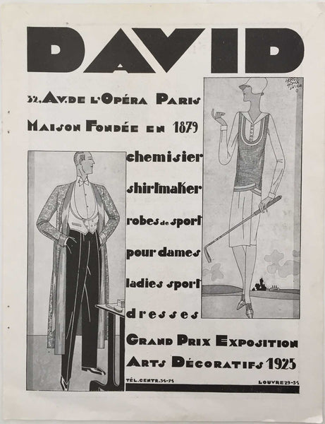 David: Men's Fashion Ad, 1928