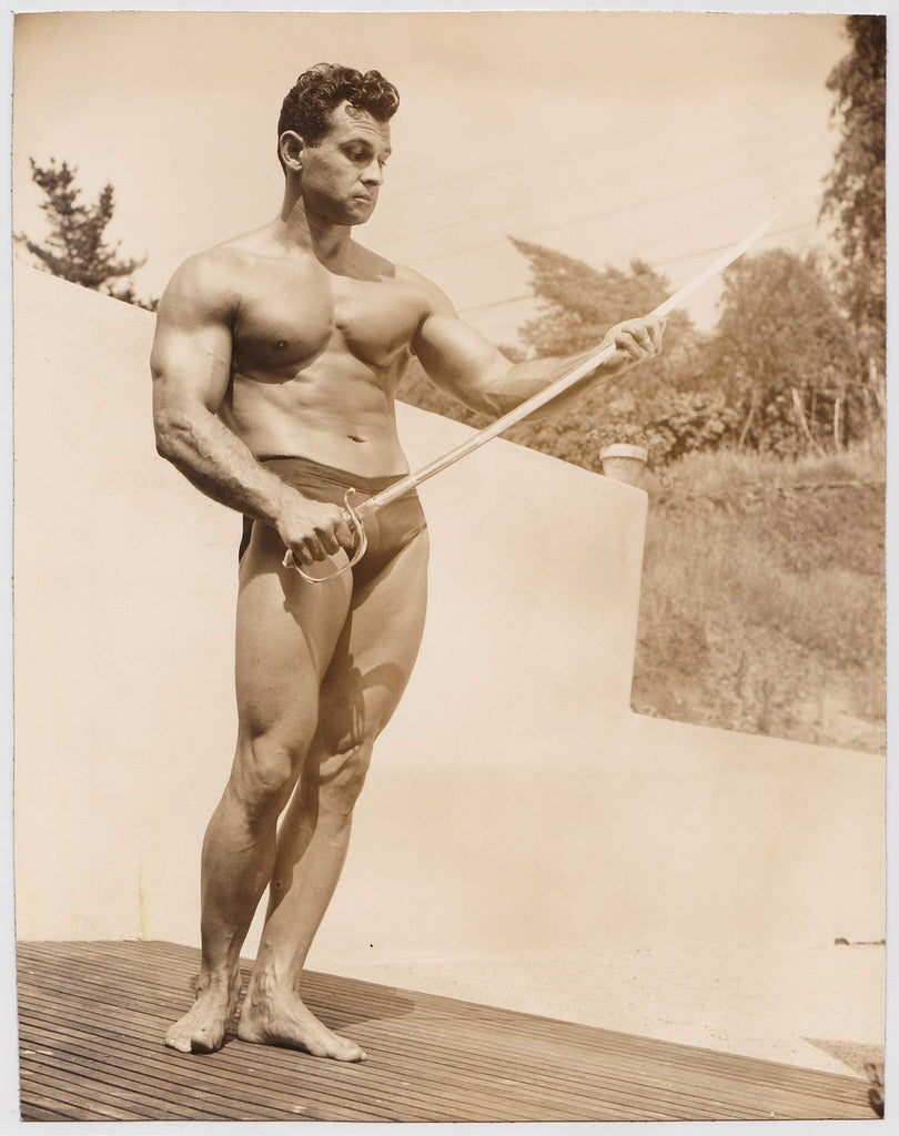 Denny of SF: Vintage Physique Photo, Vince Gironda Holding Sword