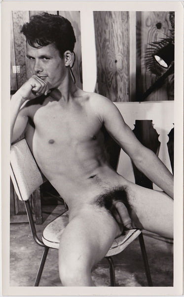 "Vintage photo of a nude model identified on verso as ""Dick Strauman"" by HRM Studio, dated '69."