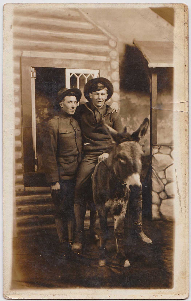 Soldiers on Stuffed Mule: Real Photo Postcard