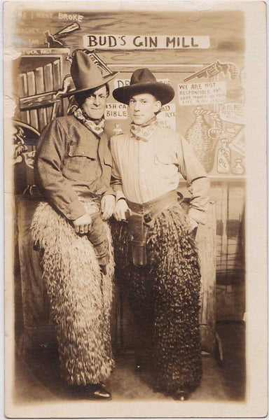 Affectionate Cowpokes at Bud's Gin Mill: Real Photo Postcard