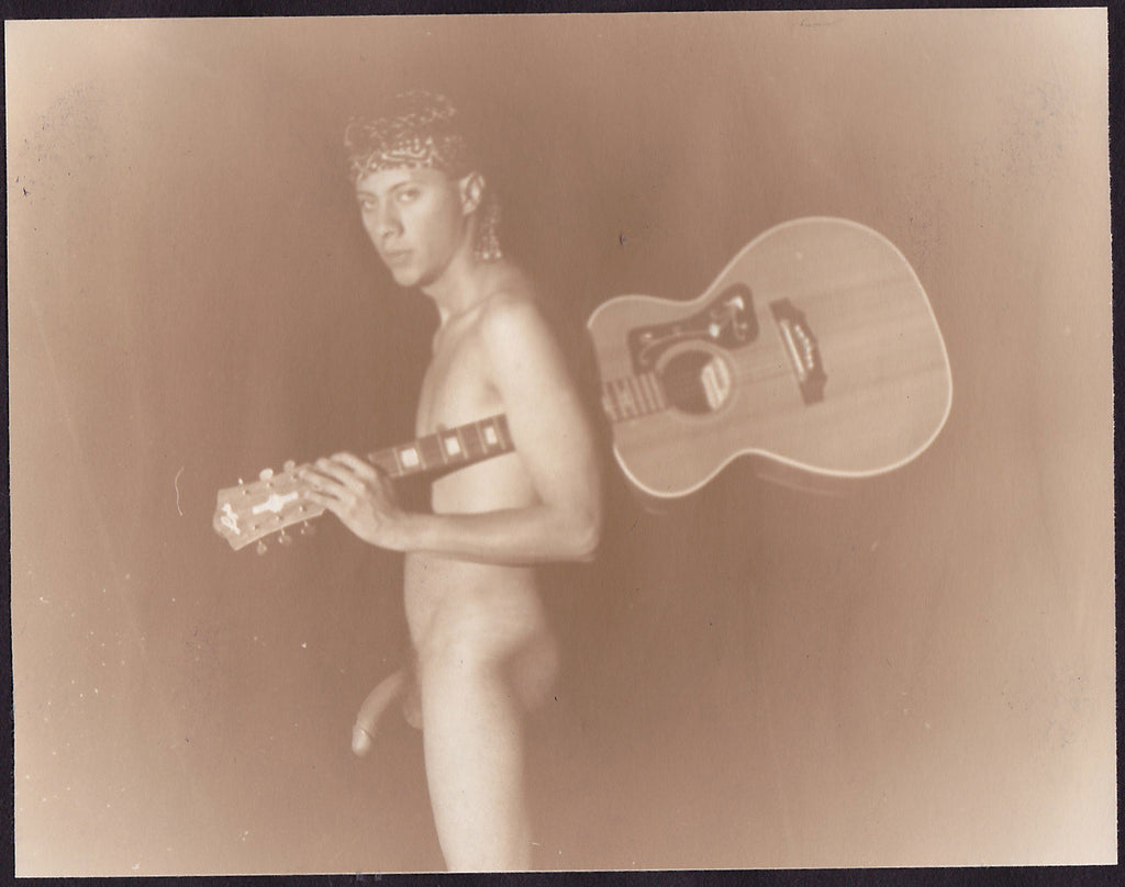 Edward McAndrews Male Nude with Guitar vintage sepia photo