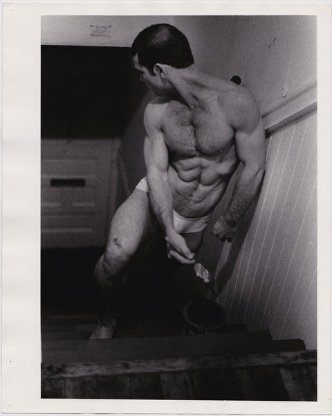 Crawford Barton Vintage Photo: Larry Lara Painting Steps in his Underwear