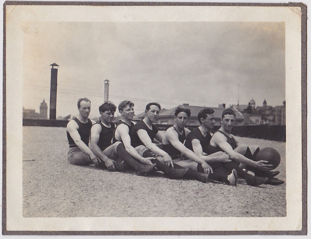 Vintage photo Basketball Team on Roof, 1905, Men in Rows