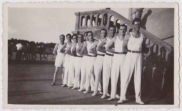 Men in Rows vintage photo men in white