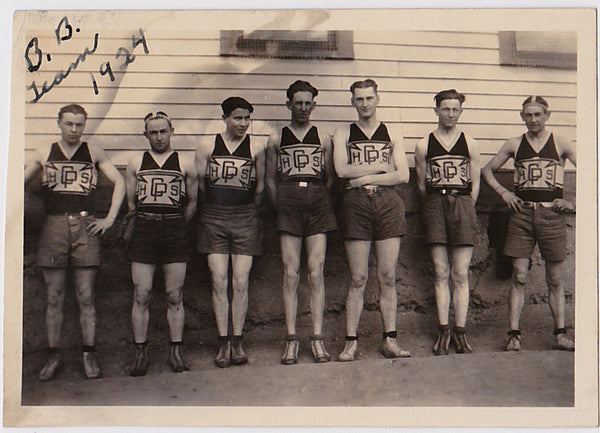 Vintage photo men in rows, CPHS B.B. Team, 1924