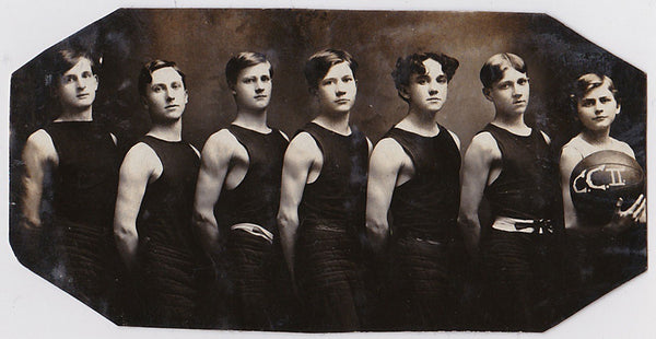 Men in Rows, Basketball Team, Vintage Real photo postcard 1905