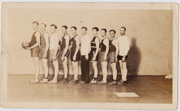 Vintage photo men in rows, basketball team 1926-27