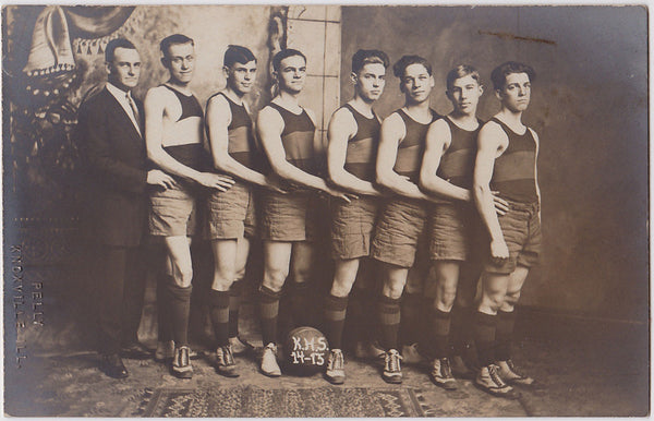 Men in Rows: High School Basketball Team in Studio Setting 1914-15