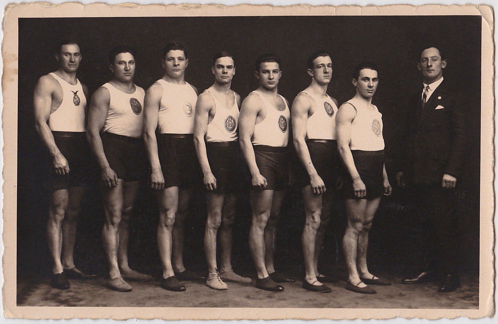 Vintage real photo postcard, Men in Rows wrestling team