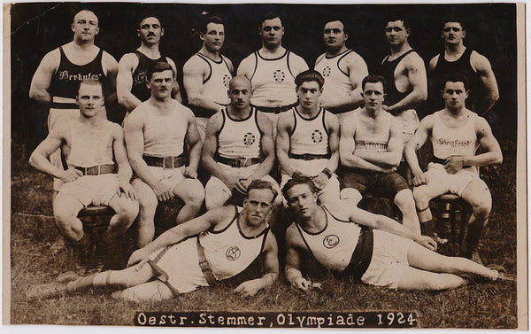 German wrestling team 1924 Olympics, Vintage Sepia Photo