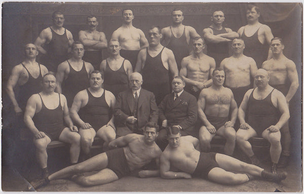 Wrestling team vintage real photo postcard c. 1910