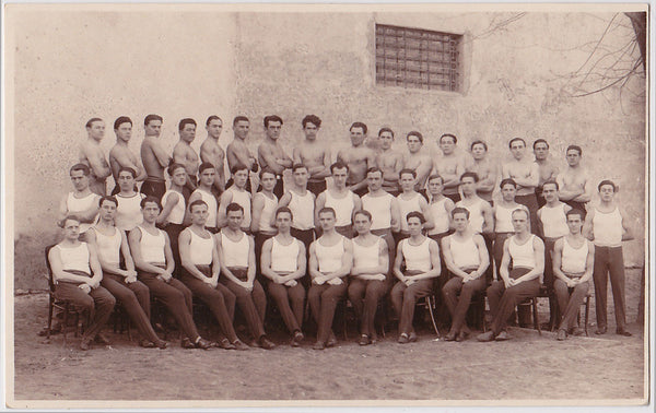Young men in rows, vintage team photo