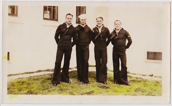 vintage sepia snapshot of sailors hand colored 1932