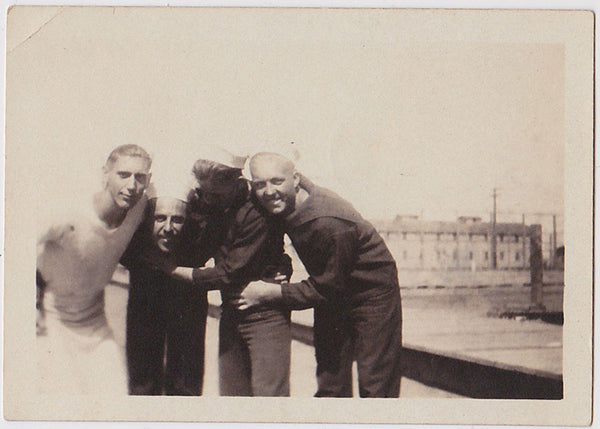 4 sailors at Mare Island Barracks, vintage photo