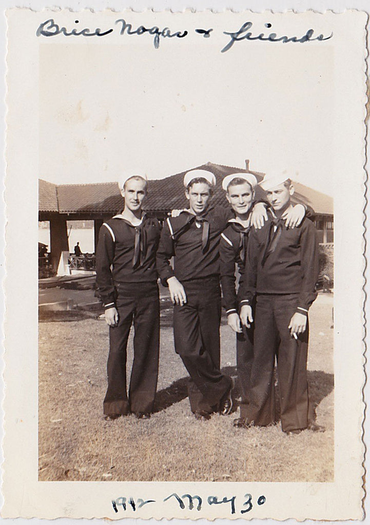 "Vintage sepia snapshot of four affectionate sailors identified in the top border as ""Brice Nogar & friends"""