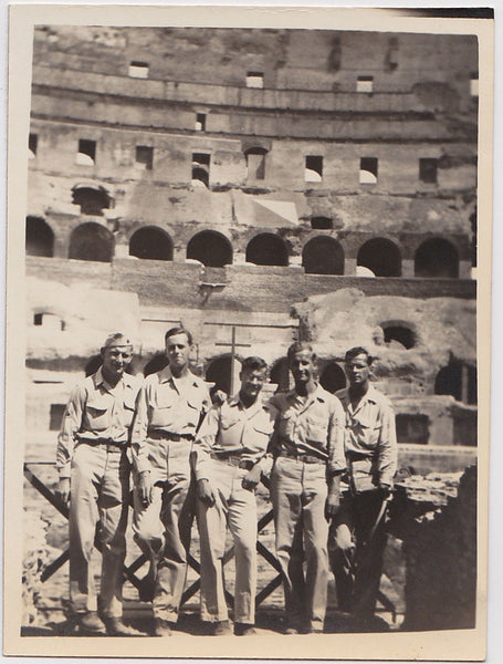 GIs in the Coliseum: Men in Rows vintage photo