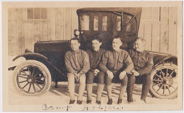 Camp Dodgers cintage snapshot men seated on running board.
