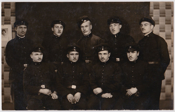 Men in Rows: Mustachioed Soldiers vintage photo 1932