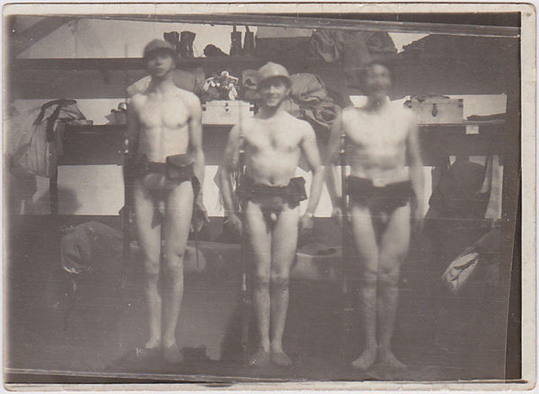 Three Naked Soldiers in a Row vintage snapshot