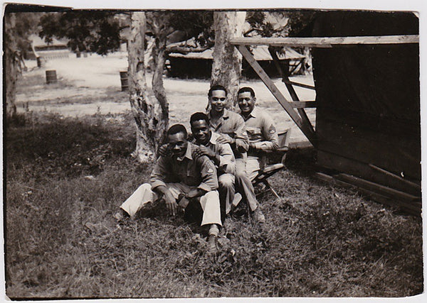 a snapshot of African-American soldiers in such a warm and affectionate row.