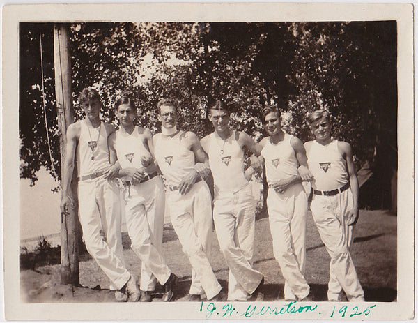 Men in Rows: YMCA Linked Arms vintage photo 1925