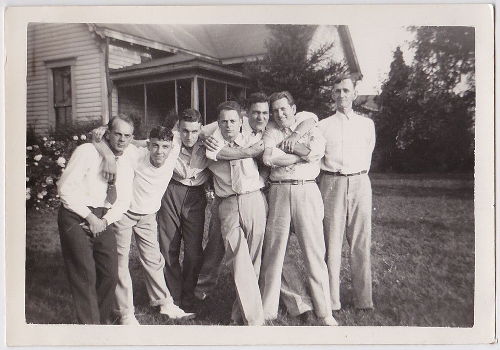 Mugging for the Camera: Men in Rows vintage photo