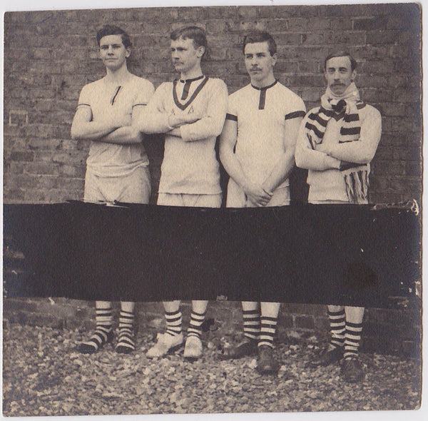 four men in horizontal stripes vintage photo