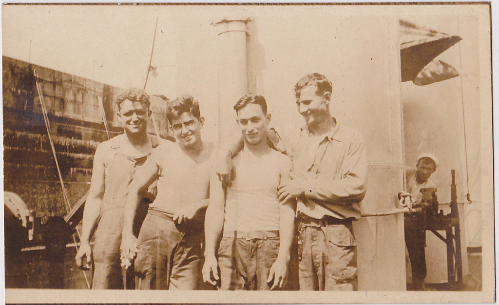 Four Buddies: Men in Rows vintage real photo postcard c. 1920s