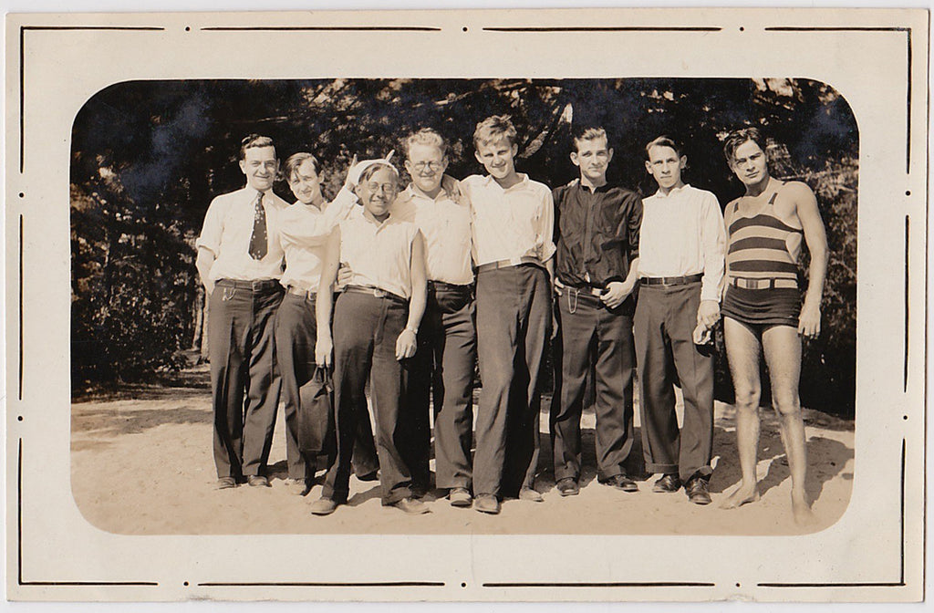 Gang of Eight: Men in Rows vintage sepia photo