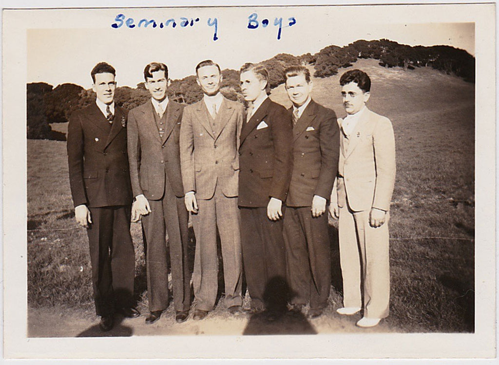 Vintage snapshot Six Seminary Boys standing in the sunshine in their suits and ties