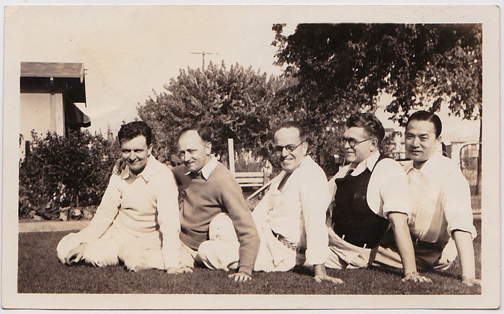 Reclining on the Lawn: Men in Rows vintage snapshot