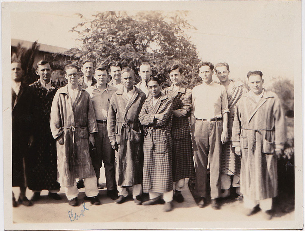 Group of men, mostly wearing bathrobes and slippers: vintage photo