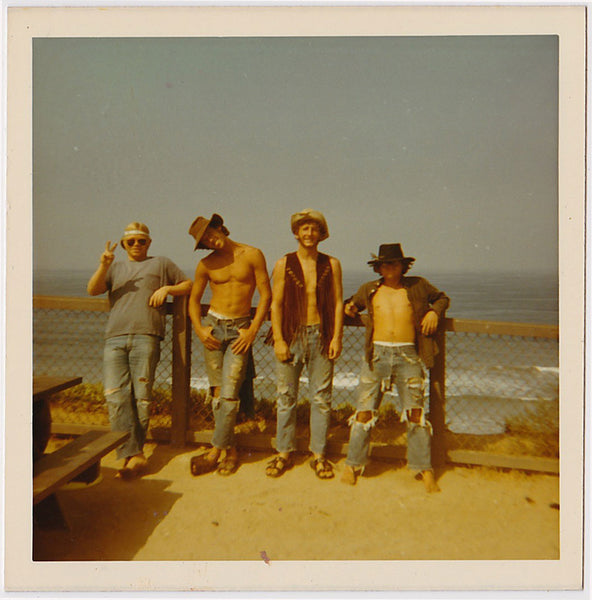 Four Hippies at the Ocean: Men in Rows, vintage color snapshot 1969.