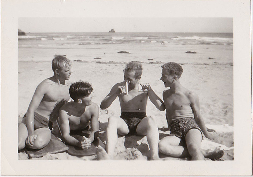 Size queens at the beach: vintage gay snapshot
