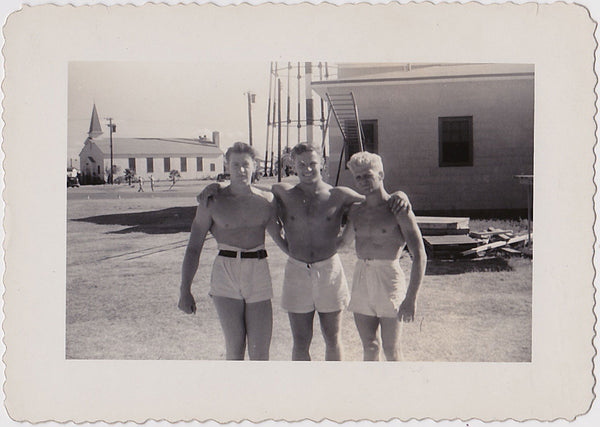 Vintage snapshot of three very beefy bodybuilders identified on verso