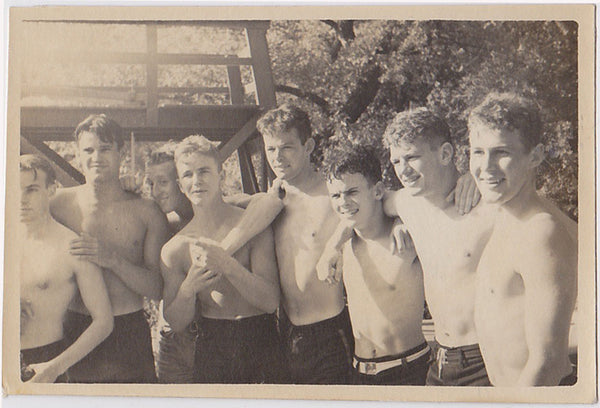 Gang of eight affectionate, happy young shirtless guys vintage snapshot