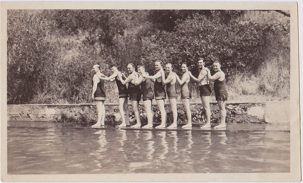 Nine Men with Hands on Shoulders vintage snapshot