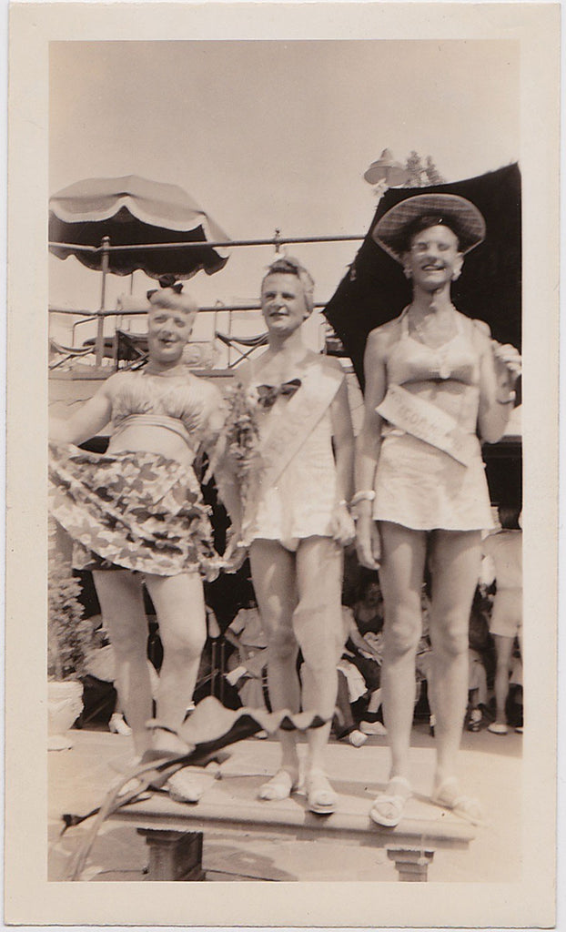 Men's Beauty Contest Top Three vintage snapshot 1943