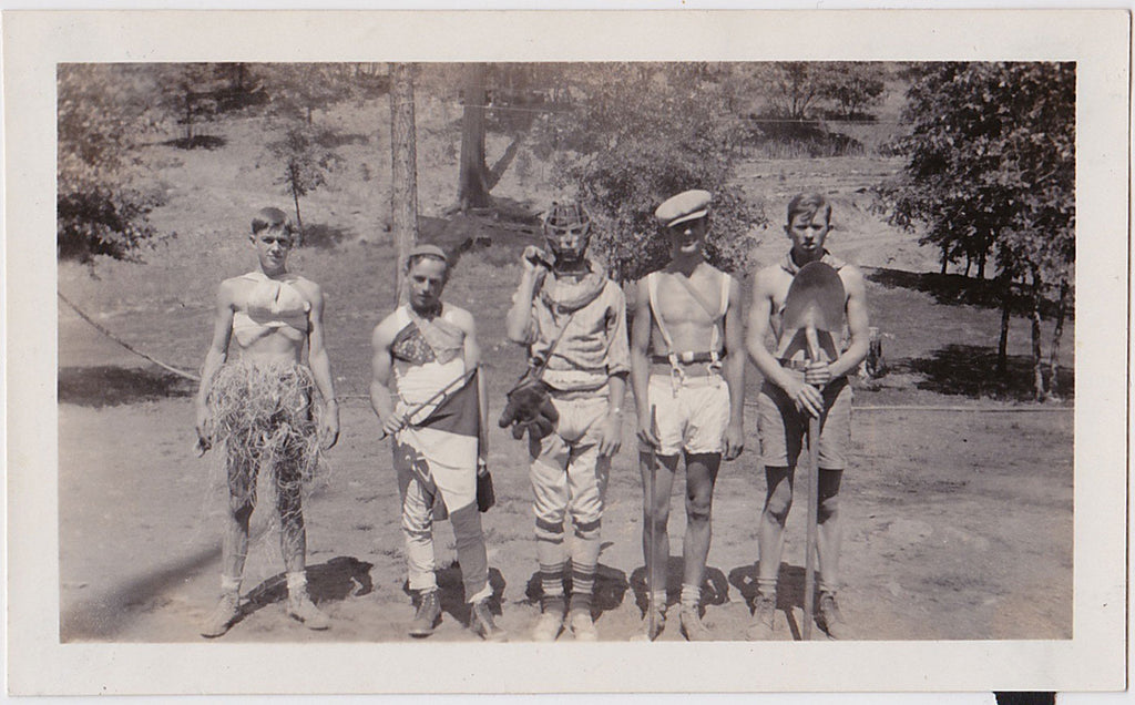 Bizarre doesn't begin to describe the costumes worn by these five young guys vintage snapshot