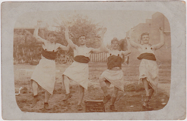 Very rare Real Photo Postcard of four men dancing together as young maidens.