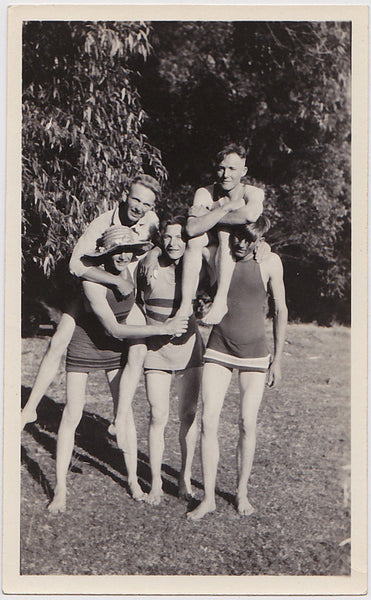 Five Guys in Swimsuits vintage photo c. 1920