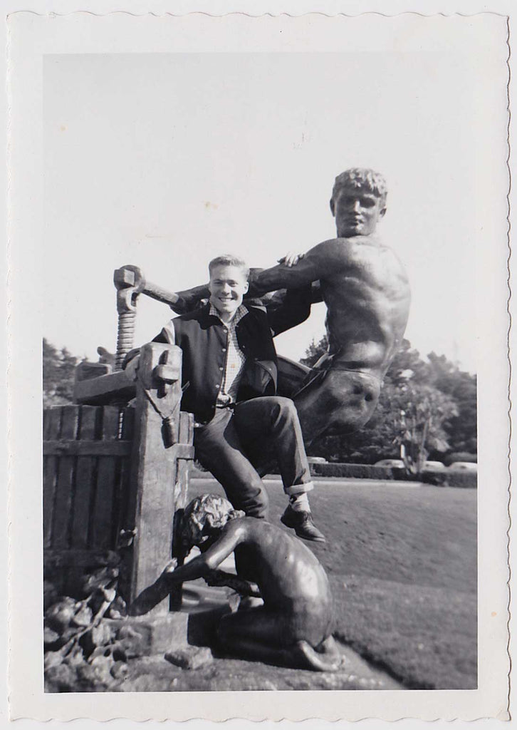 Man Posing with Nude Statue: Vintage Gay Interest Photo