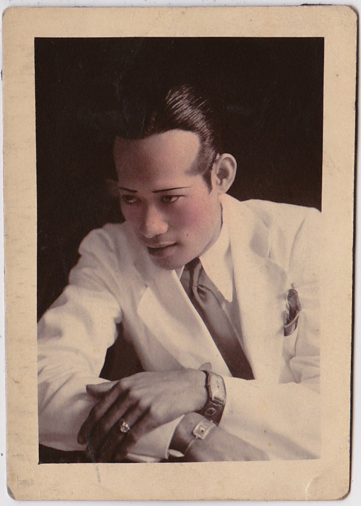 Handsome Man in White Suit, Hand Tinted