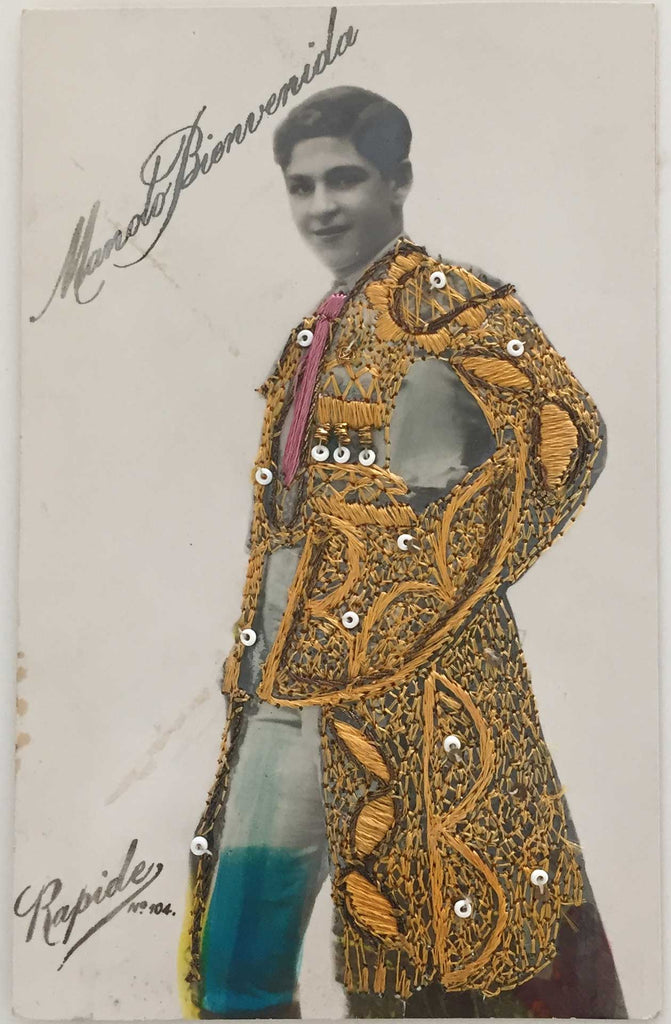 Manolo Bienvenida: Embroidered Real Photo Postcard