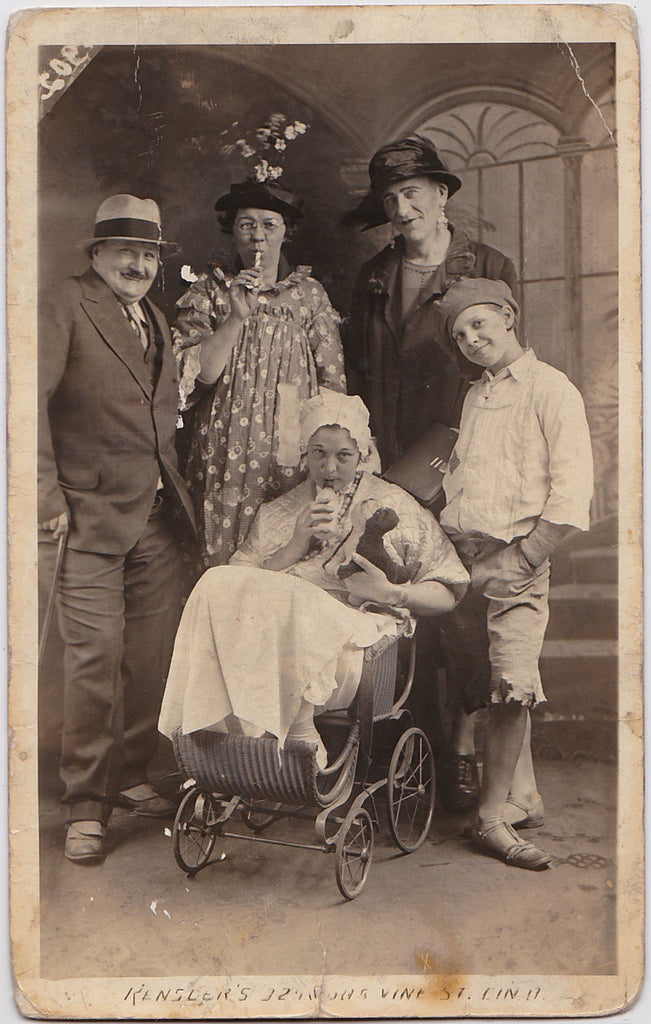 Family in Drag Vintage Real Photo Postcard made by Rensler's Photo Studio, Cincinnati.