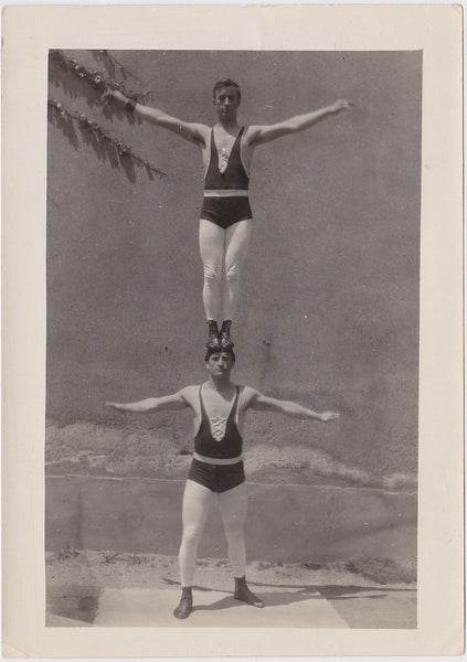 Vintage Photo: Two Acrobats Practicing